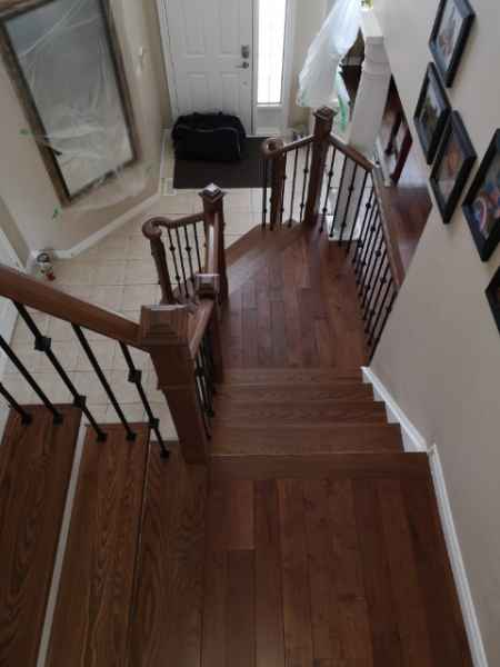 med brown staircase iron balusters burlington