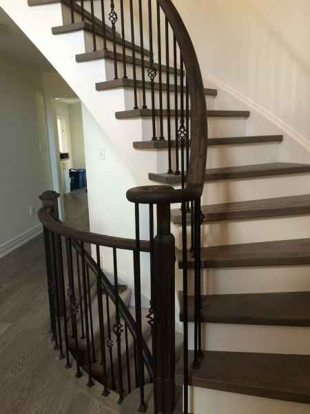 wrought iron balusters grey stair treads oakville