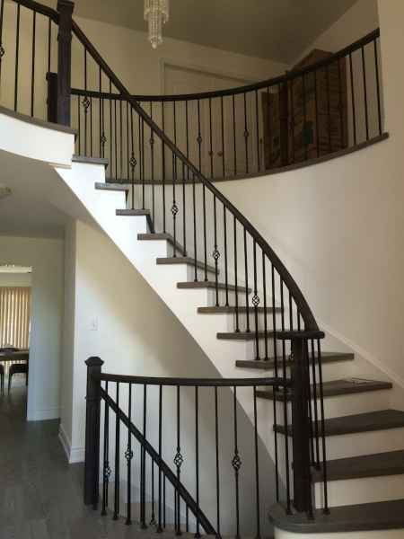 Curve staircase grey treads oakville