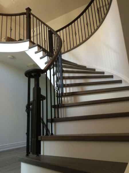 headles newel post grey stair treads oakville