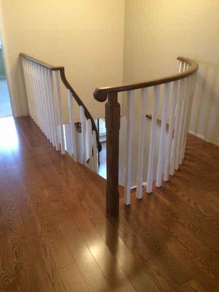 hardwood floor hallway chamfered balusters mississuga