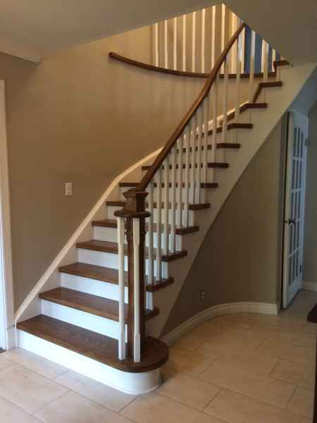 curve staircase oakville white chamfered wood balusters