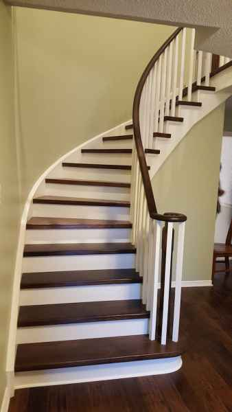curve staircase mississauga white chamfered wood balusters
