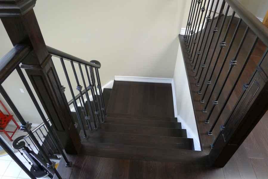 dark oak stairs with landings