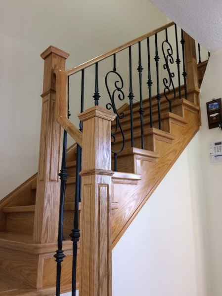 Natural oak staircase iron balusters mississauga