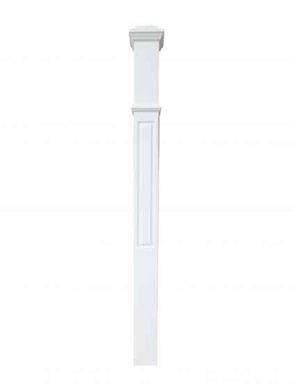 White single window stair box newel post