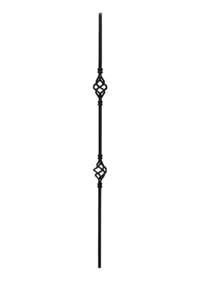 Wrought iron double basket baluster