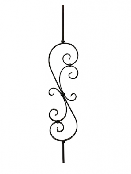 Wrought iron scroll flower baluster